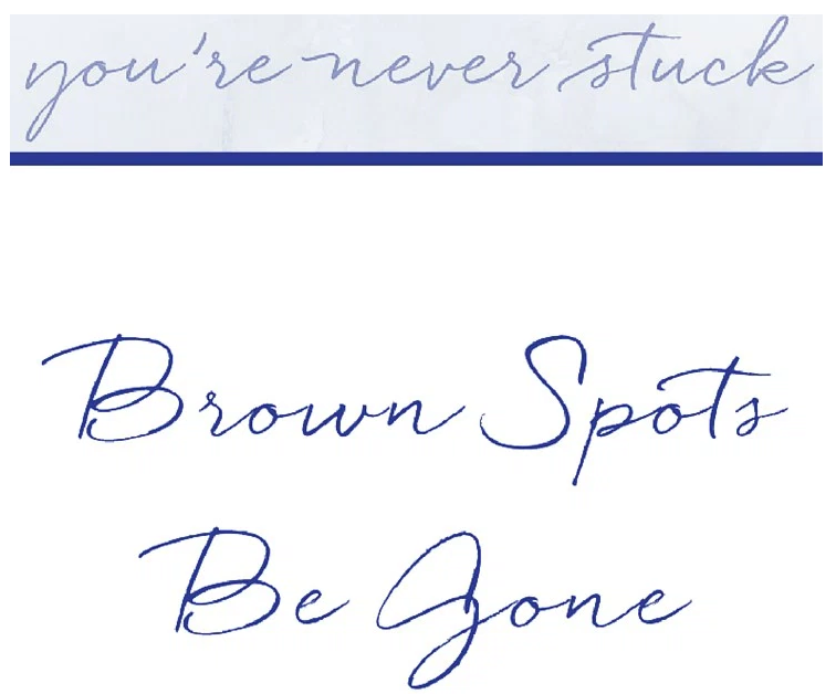 Creme Complete Age Spots Blog- You're Never Stuck. Natural Brown spot corrector.