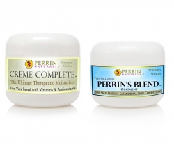 Perrin Cream: Natural Treatment for Skin Lesions, Basal Cell Carcinoma, Lichen Sclerosus, Actinic Keratosis. Creme Complete and Perrin's Blend